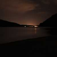 Across the lake at night at Devil's Lake State Park, Wisconsin