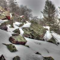 Rocks and Snow at Devil's Lake State Park, Wisconsin