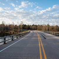 Roadway under the sky in Flambeau River State Forest