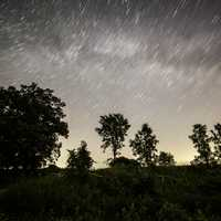 Star Trails over the sky at George Meade Wildlife Refuge