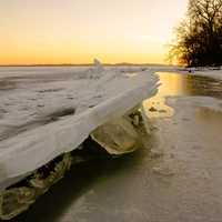 Icy landscape over the lake at Governor Nelson State Park, Wisconsin