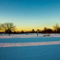 Dusk over the snowy landscape at High Cliff State Park, Wisconsin