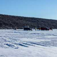 Ice fishing scene on Lake Winnebago at High Cliff State Park, Wisconsin