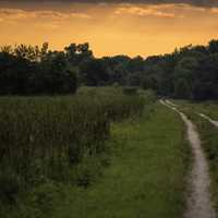 Hiking path into the red sunset at Horicon Marsh