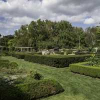 Formal gardens landscape with clouds overheard