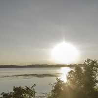Bright Sunburst  over the Lake in Madison
