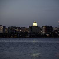 Closeup Skyline of the city of Madison at night