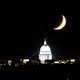 Crescent moon over the capital