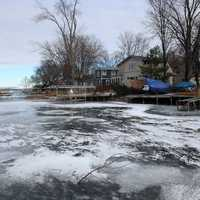 Frozen Harbor and ice in Madison, Wisconsin