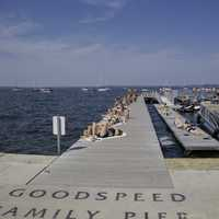 Girls sunbathing on the Pier at Lake Mendota, Madison