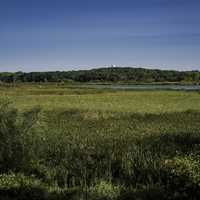Landscape and water and hill at Cherokee Marsh