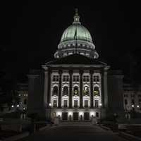 Lighted up Capital building at Night in Madison, Wisconsin