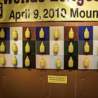 Mustard Bottle on the wall in National Mustard Museum