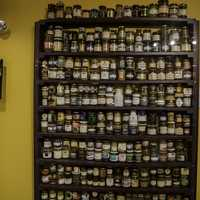 Shelf of precious Mustard at the National Mustard Museum