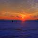 Sunset over icy lake in Madison, Wisconsin