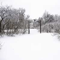 Winter and snow landscape with gate