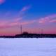 Dusk over the frozen lake on Lake Mendota, Wisconsin