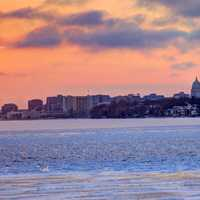 Dusk over the skyline in Madison, Wisconsin