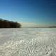 Frozen lake and footprints in Madison, Wisconsin