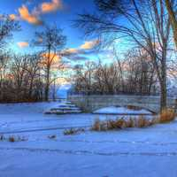 Frozen Pond at Tenney Park in Madison, Wisconsin