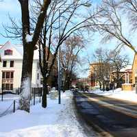Snowy Langon Street in Madison, Wisconsin