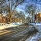 Snowy street in Madison, Wisconsin