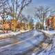 Street in the snow in Madison, Wisconsin