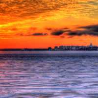 Sunset over the ice with city in Madison, Wisconsin