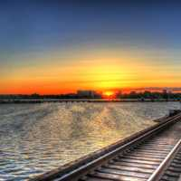 Sunset over the train tracks by the lake in Madison, Wisconsin