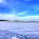 Landscape over the ice in Madison, Wisconsin