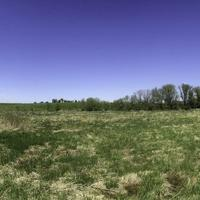 Panorama of grassland and trees on the Military Ridge State Trail, Wisconsin