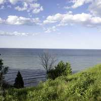 View of the landscape on lake Michigan