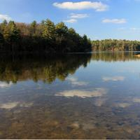Lake, reflection, and landscape at Mirror Lake State Park, Wisconsin