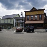Historium and streetside buildings in Mount Horeb, Wisconsin