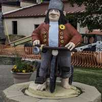 Troll riding a Bicycle Statue at Mount Horeb