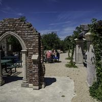 Arches and courtyard at New Glarus Brewery