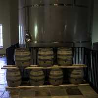 Barrels in New Glarus Brewery