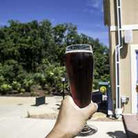 Hand holding a pint of Cherry Berry at New Glarus Brewery
