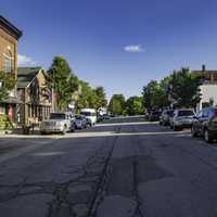 Streets, buildings, and cars in New Glarus, Wisconsin