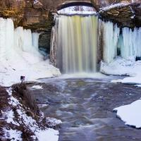 Winter landscape view of Wequiock Falls, Wisconsin Free Stock Photo
