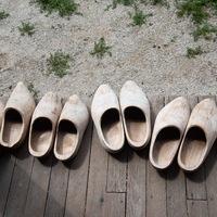 Wooden shoes on the front porch