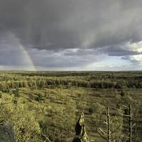Landscape Panorama with Rainbow with rain clouds from Quincy Bluff, WIsconsin