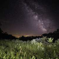 Milky Way above the Marsh with lighted foreground at Meadow Valley