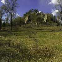 Panoramic landscape View of the ledge at Quincy Bluff, Wisconsin