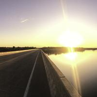 Sunset Landscape Panorama at a bridge crossing over the Wisconsin River