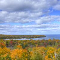 Overview of the Autumn forest at Peninsula State Park, Wisconsin