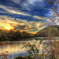 Beautiful dusk picture on the river at Perrot State Park, Wisconsin