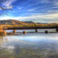 Bridge on the backwaters of the Mississippi at Perrot State Park, Wisconsin