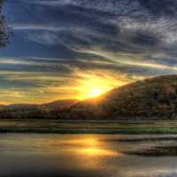 Sunset across the river at Perrot State Park, Wisconsin