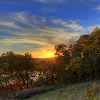 Sunet over the autumn forest in Perrot State Park, Wisconsin